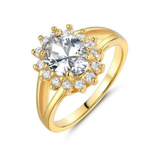 Jewelry - Gold Filled CZ Flower Cocktail Ring